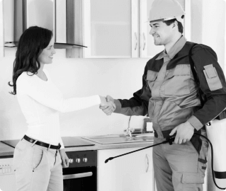 staff having handshake with his female client
